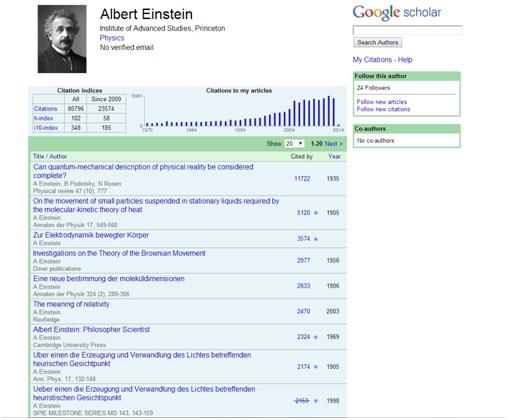 EinsteinGoogleScholar
